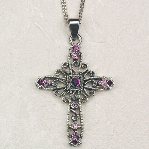 Purple Rhinestone Cross Carded