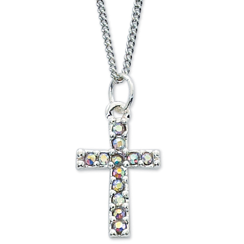 """Crystal Cross With 16"""" Chain"""