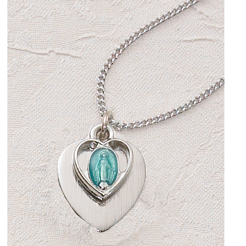 Blue Miraculous Heart Pendant With