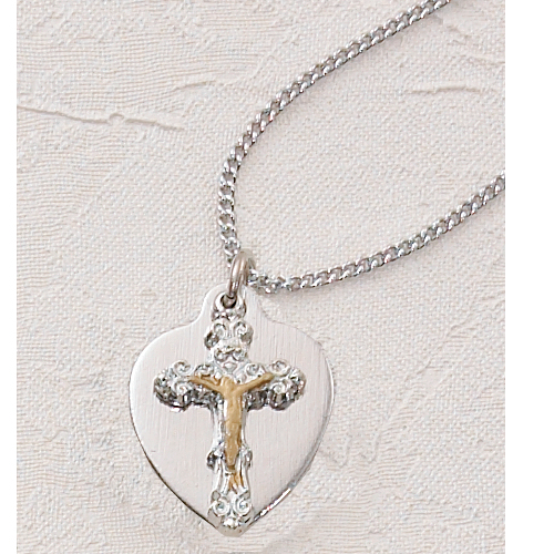 Crucifix Heart Pendant With
