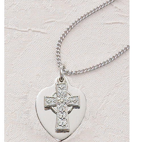 "16"" Celtic Cross Heart Pendant"