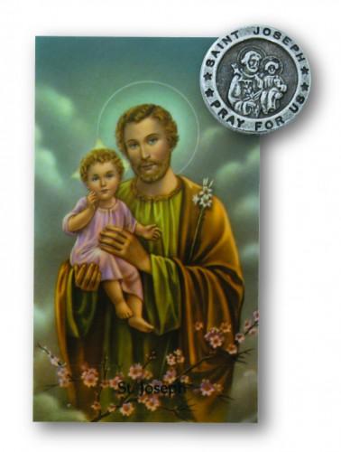 St Joseph Pin/Prayer Card Set
