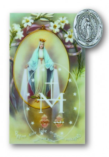 Miraculous Pin/Prayer Card Set