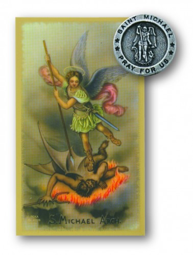 St Michael Pin/Prayer Card Set