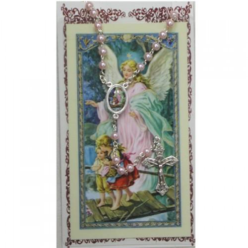 Pink Rosary & Prayer Card