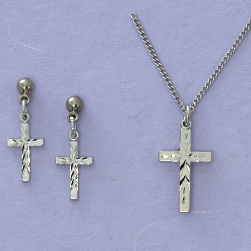 Rf Cross Pend & Earring Set