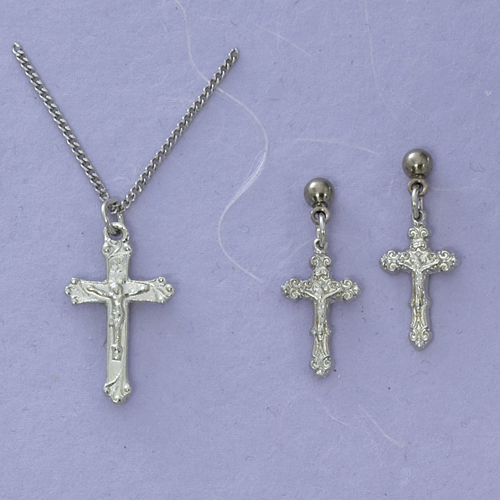 Rf Crucifix & Earring Set