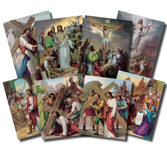 "Station Of The Cross Poster Set 8"" X 10"""