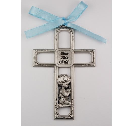 Pewter Boy Crib Cross/Carded