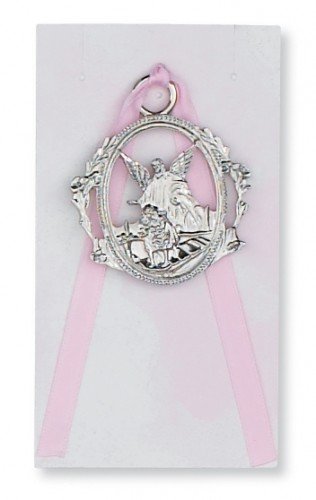 Guardian Angel Crib Medal Pink