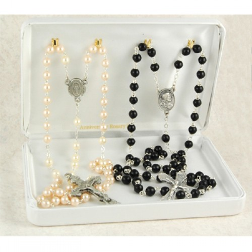 Sterling Silver Pearl/Black Anniver Set