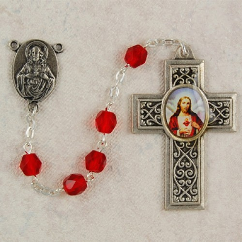 6MM Red Glass Rosary with SHJ Ctr