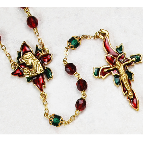 Gold-plated 7MM Ruby Poinsettia Rosary