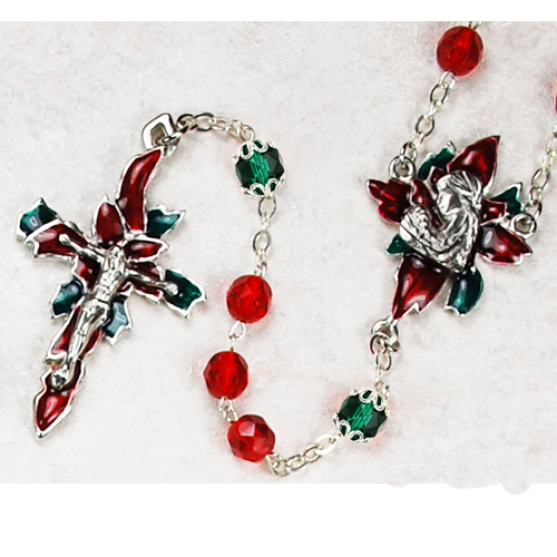 7MM Red Poinsettia Rosary/Box