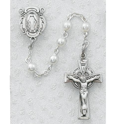 5MM White Irish Rosary