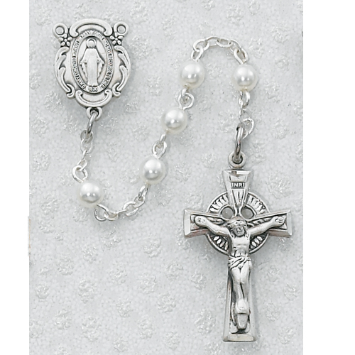 Sterling Silver 5MM White Irish Rosary