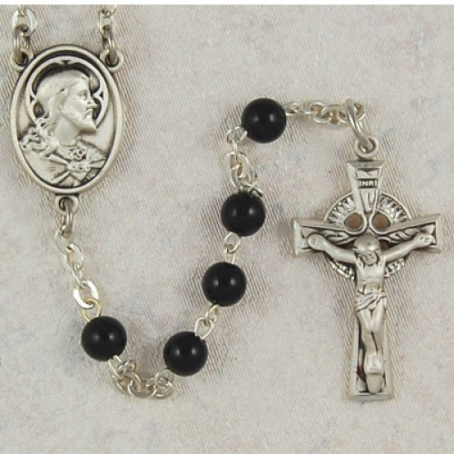 Sterling Silver 5MM Black Irish Rosary
