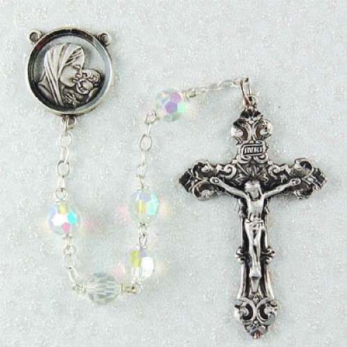 7MM Tin Cut Crystal Rosary
