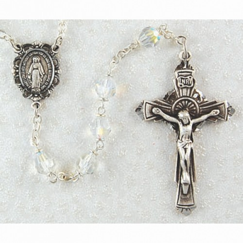 Sterling Silver 6MM Crystal Tin Cut Rosary