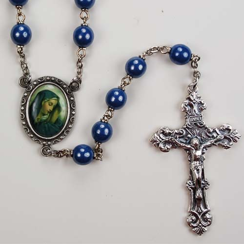 7MM Blue Our Lady of Sorrows Rosary