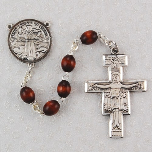 Sterling Silver 4X6MM San Damiano Rosary