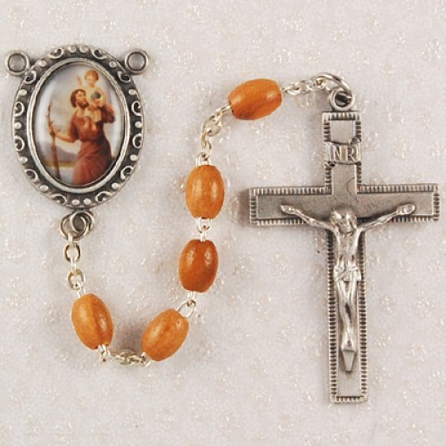 Olive Wood St Christopher Rosary
