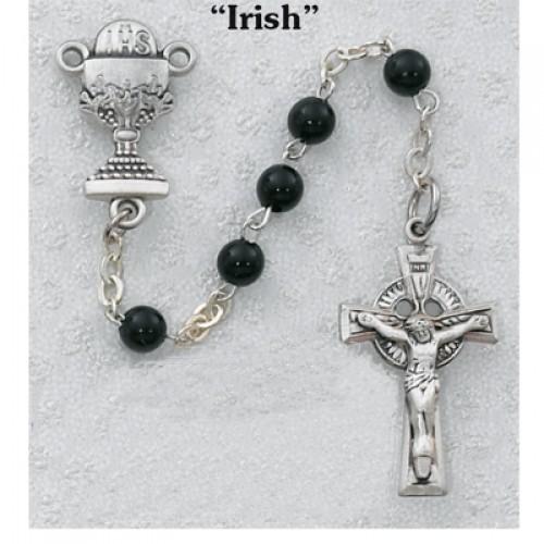 Sterling Silver 5MM Black Irish Rosary