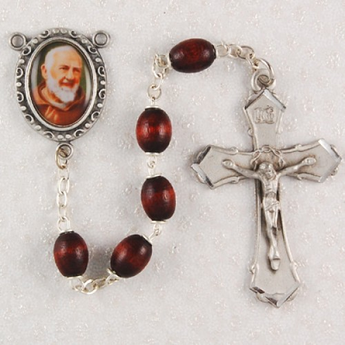 6X8MM Brown St. Padre Pio Rosary