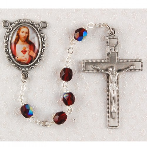 6MM Red Sacred Heart Rosary