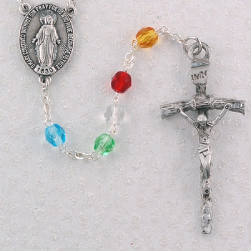 6MM Pewter Crystal Mission Rosary