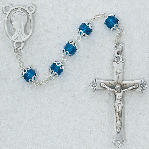 7MM All Capped Dark Blue Rosary