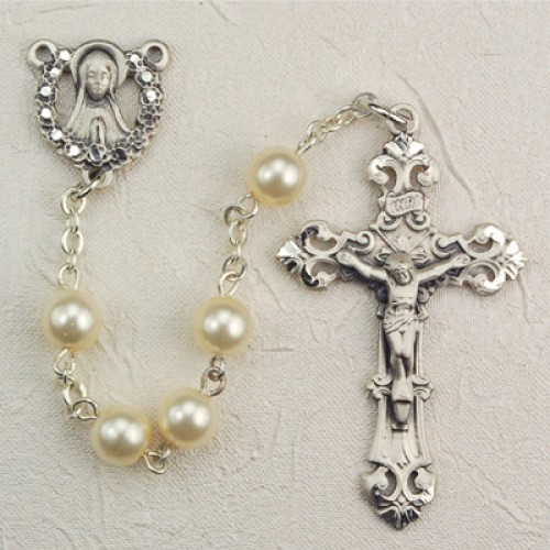 Sterling Silver 6MM Pearl Rosary