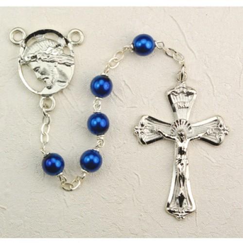7MM Blue Metallic Rosary