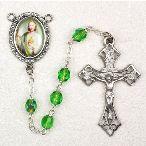 6MM Green St. Jude Rosary