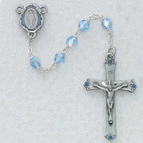 Sterling Silver 6MM Blue Rosary