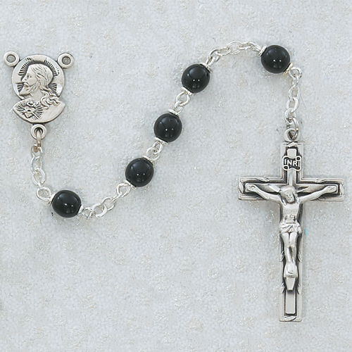 Sterling Silver 5MM Black Glass Rosary
