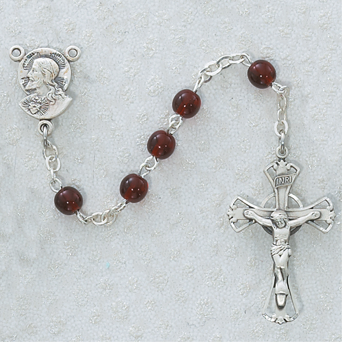 Sterling Silver 5MM Garnet Glass Rosary