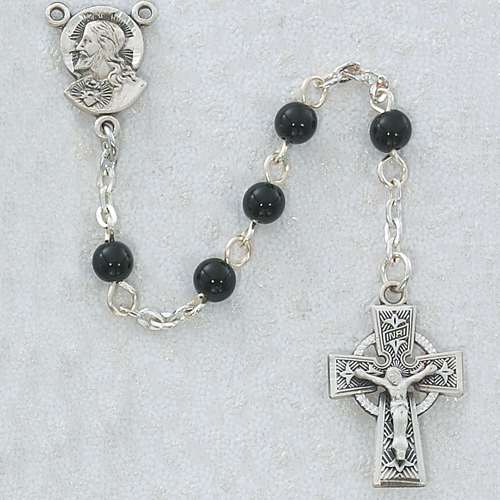 5MM Black Glass Rosary Celtic