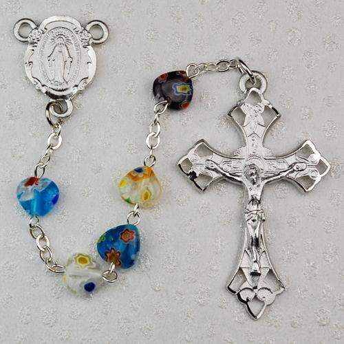 8X8MM Multi Murano Heart Rosary