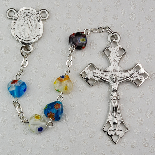 8X8MM Multi Murano Heart Rosary