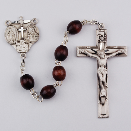 4X6MM Sterling Silver Brown Rosary