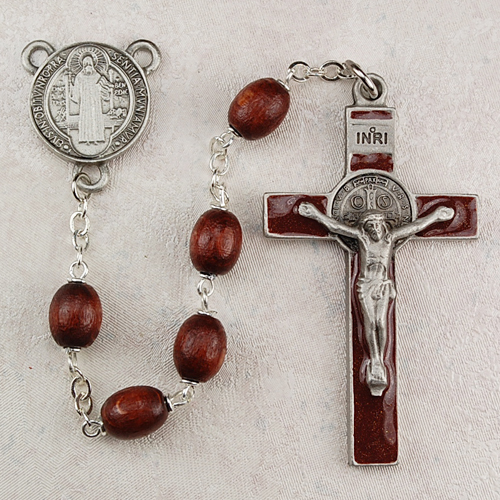 7MM Brown St Benedict Rosary