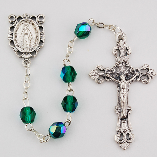 6MM AB Emerald/May Rosary
