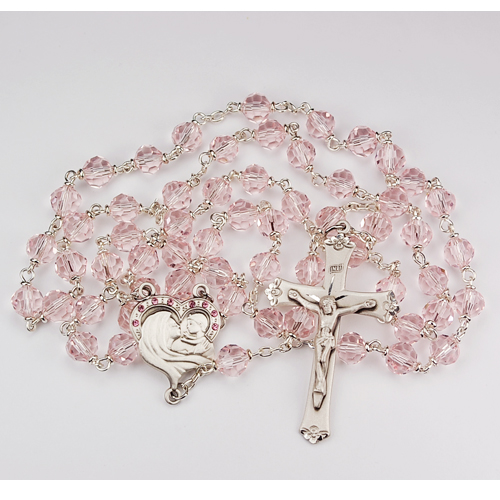 Sterling Silver 7MM Rose Tincut Rosary