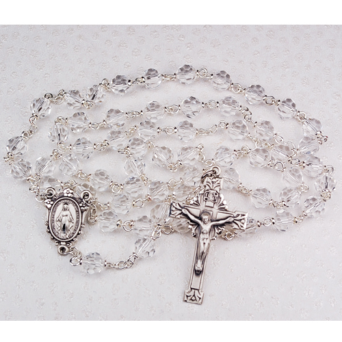 Sterling Silver 7MM Crystal Tincut Rosary
