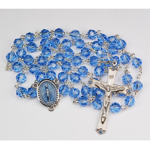 Sterling Silver 7MM Blue Tincut Rosary