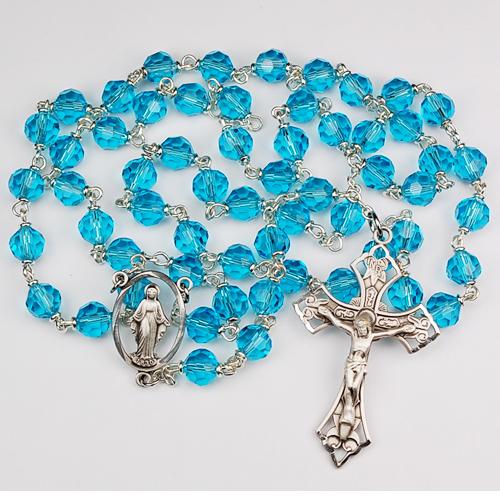 Sterling Silver 7MM Aqua Tincut Rosary