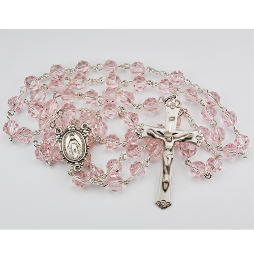 Sterling Silver 7MM Pink Tincut Rosary