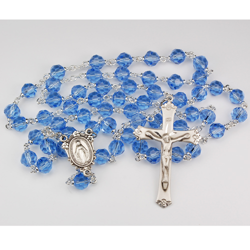 7MM Blue Tincut Rosary