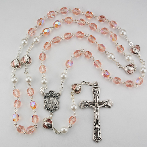 6MM Pink & Pearl Rosary